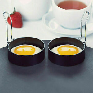 Nonstick Stainless Steel Handle Round Egg Rings Shaper Pancakes Molds Ring
