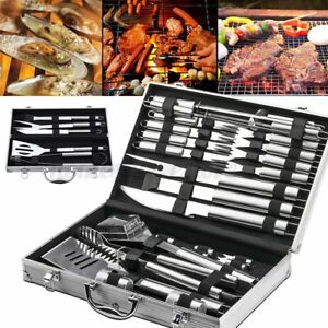 5/26Pcs BBQ Tool Barbecue Grill Tools Set Kit Stainless Steel w/ Aluminum Case