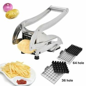 Stainless Steel French Fry Cutter Potato Vegetable Slicer Chopper 2 Blades Dicer