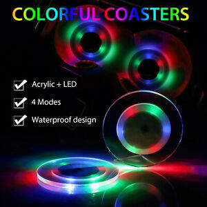 2x Car LED Cup Pad Cup Holder Mat Charging Bottle Coaster Auto Atmosphere Light $9.97