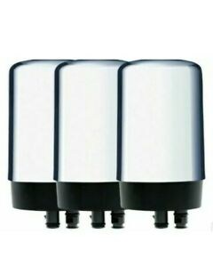 Brita Tap Water Faucet Replacement Filter (3 pack, Chrome, FR-200)