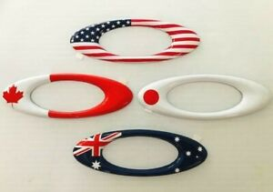 New Oakley Embossed USA, Canada, Japan Flag 3D Metal Icon Sticker Patch 5x2