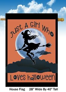 Girl Loves Halloween   House Flag Quality Double Sided  28x40