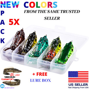 5x High Quality Fishing Lures Frog Topwater Crankbait +BOX Bass Bait Tackle NEW