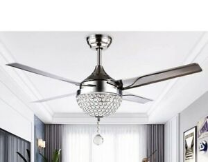 Modern Crystal Ceiling Fan Lamp LED 3 Changing Light