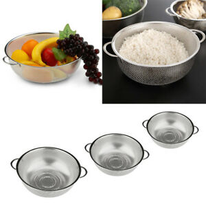 3pcs Stainless Steel Strainer Pasta Draining Basket with Handles Storage