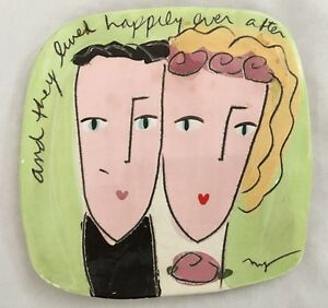 Pottery 7X7quot; Humor Sign: and they Lived Happily Ever After