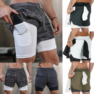 Mens 2 in 1 Running Shorts Compression Workout Lining Gym Running Jogging Pants $6.79