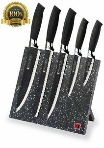 Design Imperial Collection Stainless Steel Knife Set Magnetic Block Black Chef
