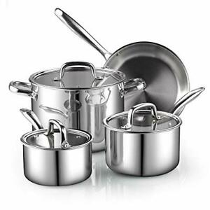 Cook N Home 7-Piece Tri-Ply Clad Stainless Steel Cookware Set, Silver