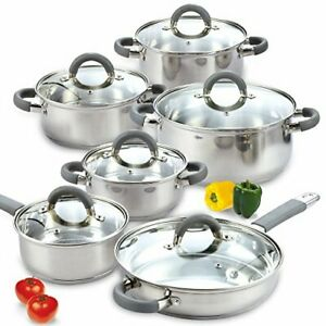 Cook N Home Stainless Steel 12-Piece Cookware Set, Silver