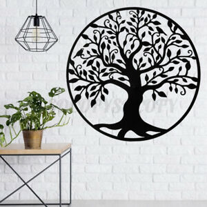 39in Black Tree of Life Metal Hanging Wall Decor Art Round Sculpture Home Garden $88.79