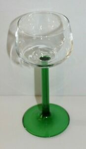 Clear Crystal With Green Stem Wine Glass Made in France
