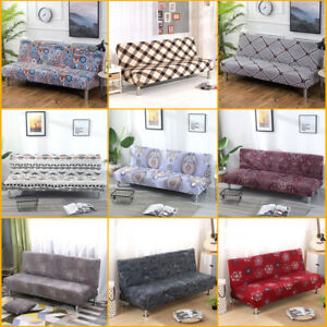 Armless Sofa Slipcover Stretch Floral Bed Couch Lounge Cover Full Folding Covers