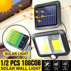 108 COB Solar Lamp Outdoor Garden Yard PIR Motion Sensor Waterproof Wall Light