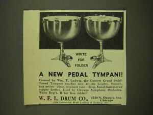 1939 W.F.L. Drum Ludwig Concert Grand Pedal Tuned Tympani Advertisement $16.99
