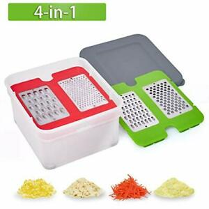Nurch Cheese Grater with Container 4 in 1 Box Grater with Stainless Steel Blades