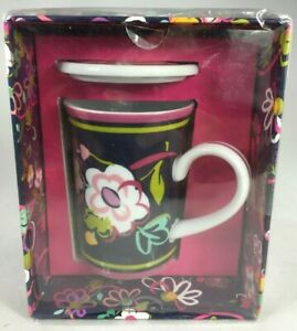 VERA BRADLEY PORCELAIN MUG WITH COVER BEAUTIFUL PAINT PATTERN NEW IN BOX SEALED