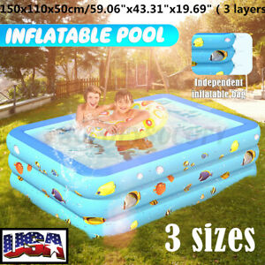 Inflatable Swimming Pool Family Kids Backyard Blow Up Bathing Tub Home Outdoor