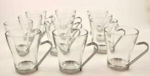 Set 12 Vitrosax Italy Glass Cappucinno Coffee Cups Mugs Stainless Wire Handles