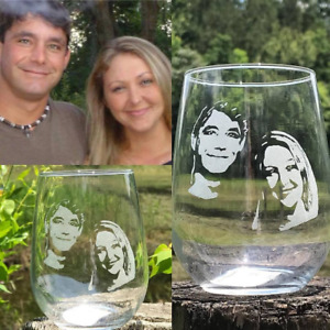 Personalized Engraved wine glass, Custom picture wine glass, photo whiskey glass