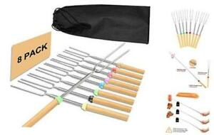 8 Marshmallow Roasting Sticks, 32 Inch Telescoping Hot Dog Forks