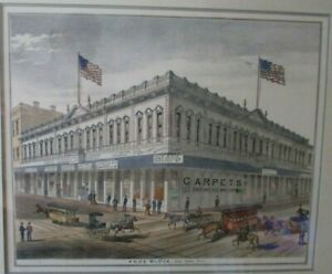 THE KNOX BLOCK San Jose CA Hand Colored Stone Lithograph 1876 $150.00