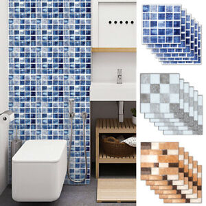 6Pcs 3D Self Adhesive Square Tile Floor Wall Sticker Mosaic Decal Home Decor $4.19