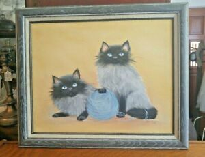 Vintage Oil Painting Persian Cat Kittens Signed Original Frame 24 x 20 $39.99