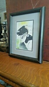 Vintage Signed Watercolor Painting Goats Sheep Matted Original Frame $34.99
