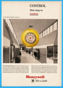 1959 Honeywell Control Most Modern Schools Round Thermostat Print Ad $9.89