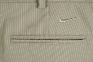 Nike Golf Dri Fit Mens Sz 36 Beige Striped Flat Front Tech Shorts $10.50
