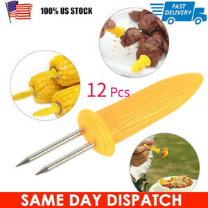 12x Safe Clean Corn on the Cob Holders Skewers Needle Prongs For BBQ Barbecue
