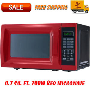 0.7 Cu. Ft. 700W Red Microwave with 10 Power Levels Kitchen Appliances