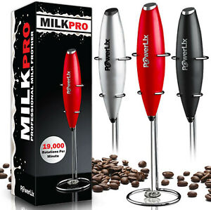 PowerLix Milk Frother Handheld Battery Operated Electric Foam Maker For Coffee,
