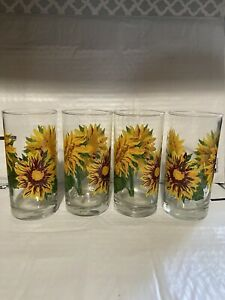 Sunflower Glass Coolers Set of 4 15.75 oz. NEW