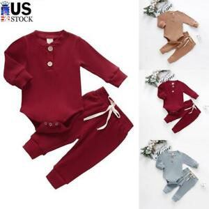 Newborn Baby Boy Girl Clothes Ribbed Romper Jumpsuit Bodysuit Pants Outfits Sets