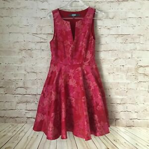 GORGEOUS Women's EVA FRANCO Anthropologie Red & Pink Floral Dress Size 2