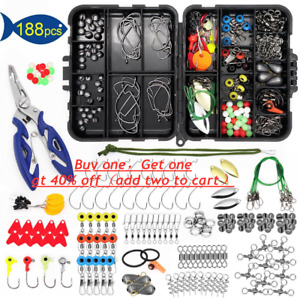 【188PCS】Fishing Accessories Kit set with Tackle Box Pliers Jig Hooks Swivels New