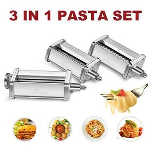 3-Piece Pasta Roller & Cutter Set Attachment for KitchenAid Stand Mixers,Stai...
