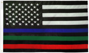 Embroidered Thin Blue Green Red Line Flag 3x5 Police Fire Military USA Thin Line