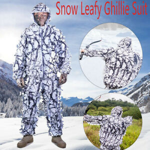 3D White Snow Camouflage Ghillie Suit Tactics Hunting Clothes Jacket amp; Pant Sets