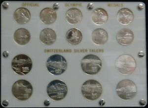 Lot of 18 Swiss Olympic Silver Talers Medals in Custom Holder #JL106