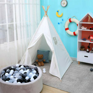 Indoor Outdoor Kids Teepee Tent Small Camping Accessories Cotton Canvas White