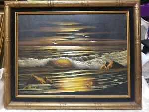 Certified Oil on Canvas Painting Seascape Signed amp; Framed 16x12 $38.00