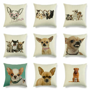 Pillow Chihuahua Cover Decorative 18quot; Home Case Dog Animal Pattern Linen Cushion $3.15