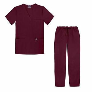 Siwan Womens Scrub Sets Classic Burgundy Red Size 3X V Neck Drawstring $39 242