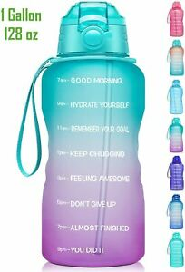 Giotto Large 1 Gallon 128oz Motivational Water Bottle with Time Marker amp; Straw