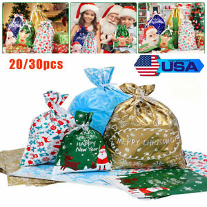 Christmas Foil Gift Bags Ribbon Party Bag Wedding Favours Candy Wrapping Bags US