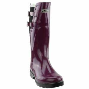 Puddletons Cozy Classic Rain Womens Boots Knee High Purple $22.99